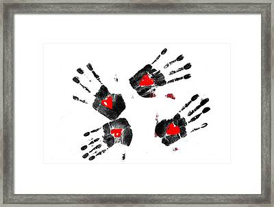 Heart Shape In  Hands Framed Print