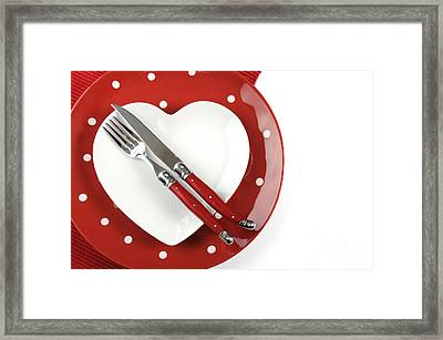 Heart Shape Red Polka Dot Dining Table Place Setting Framed Print by Milleflore Images
