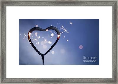 Heart Shape Sparkler Framed Print
