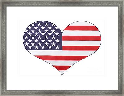 Heart Shape Usa Flag Framed Print by Milleflore Images