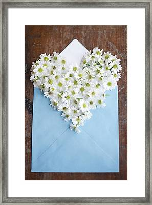 Heart Shaped Daisies In Blue Envelope Framed Print