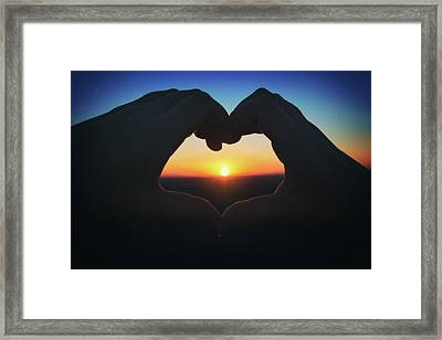 Heart Shaped Hand Silhouette - Sunset At Lapham Peak - Wisconsin Framed Print by Jennifer Rondinelli Reilly - Fine Art Photography
