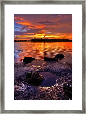Heart Shaped Pool At Sunset Over Lake Worth Lagoon On Singer Island Florida Framed Print