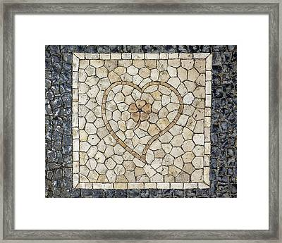 Heart Shaped Traditional Portuguese Pavement Framed Print