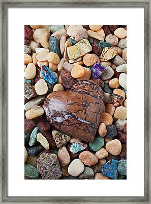 Heart Stone Among River Stones Framed Print by Garry Gay