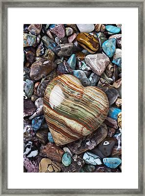 Heart Stone Framed Print by Garry Gay