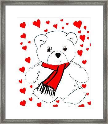 Heart Teddy Framed Print by Sonya Chalmers