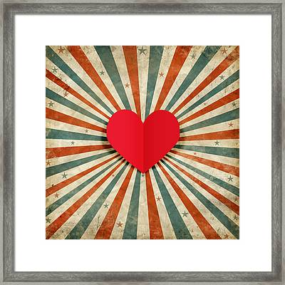 Heart With Ray Background Framed Print