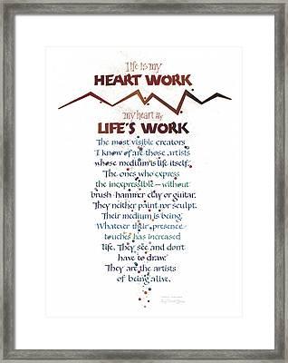 Heart Work Framed Print by Judy Dodds