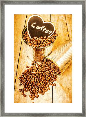 Hearts And Cafe Beans Framed Print