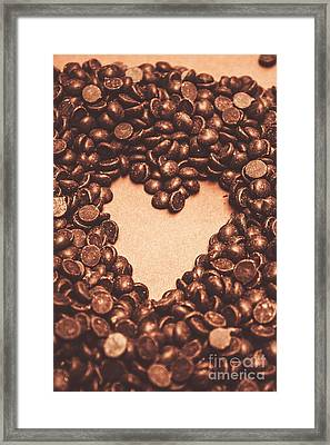 Hearts And Chocolate Drops. Valentines Background Framed Print
