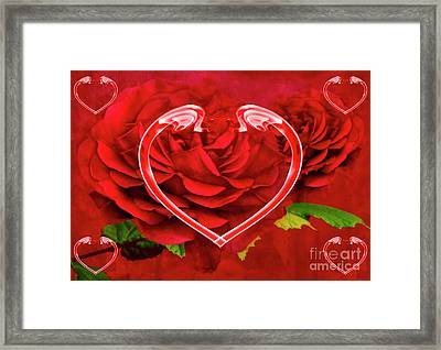 Hearts And Roses Framed Print by Steve Purnell