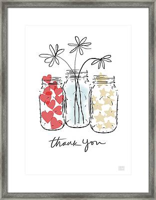 Hearts And Stars Thank You- Art By Linda Woods Framed Print