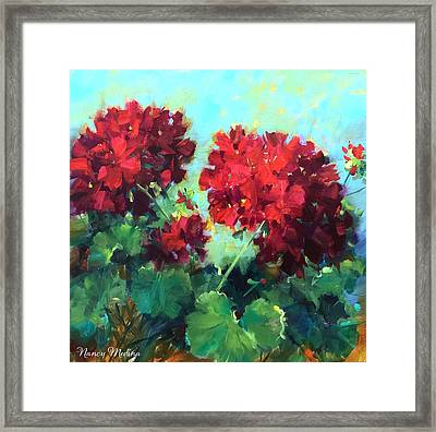 Hearts In Harmony Red Geraniums Framed Print