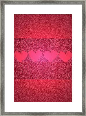 Hearts In Red Framed Print