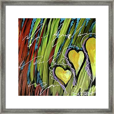 Hearts In The Grass Framed Print