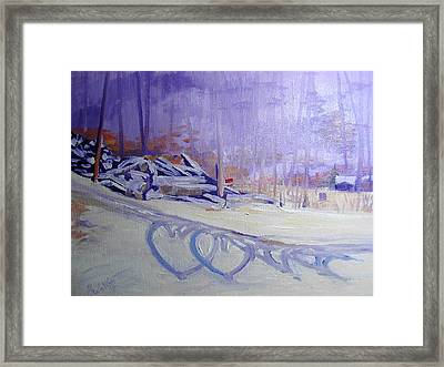 Hearts In The Snow Framed Print by Judy Fischer Walton