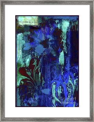 Red Heart- Blue Flowers Framed Print