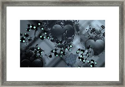 Hearts N' Vines Green Framed Print