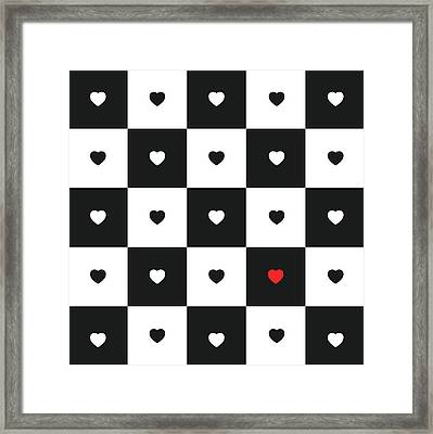 Hearts On Black And White Classic Chessboard Framed Print by Elena Chepel