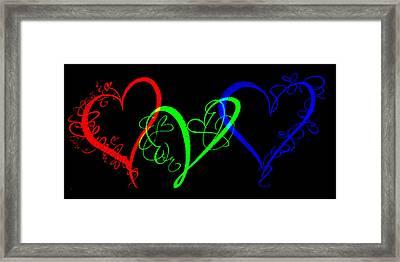 Hearts On Black Framed Print