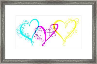 Hearts On White Framed Print