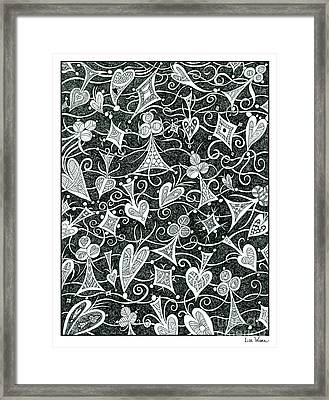 Hearts, Spades, Diamonds And Clubs In Black Framed Print