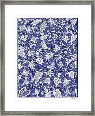 Hearts, Spades, Diamonds And Clubs In Blue Framed Print by Lise Winne