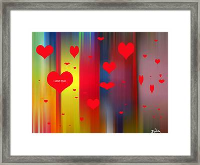 Hearts Framed Print by Sula Chance