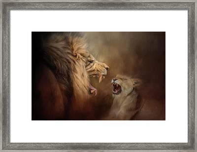 Heated Conversation Lion Art Framed Print