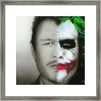 ' Heath Ledger / Joker ' Framed Print by Christian Chapman Art