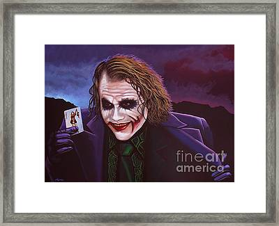 Heath Ledger As The Joker Painting Framed Print by Paul Meijering