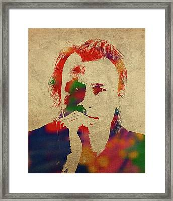 Heath Ledger Watercolor Portrait Framed Print