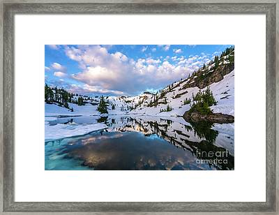 Heather Meadows Blue Ice Reflection Cloudscape Framed Print by Mike Reid