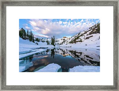 Heather Meadows Reflection Cloudscape Framed Print by Mike Reid