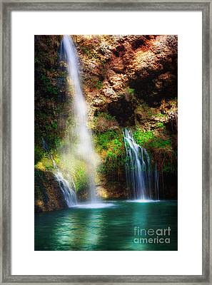 Heavenly Light At Dripping Springs II Framed Print by Tamyra Ayles