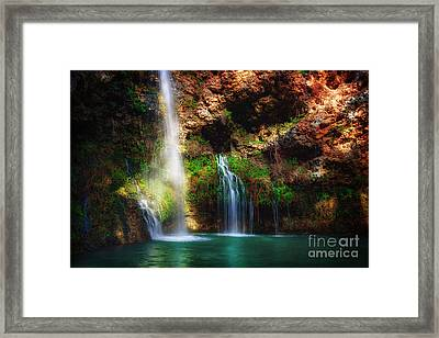 Heavenly Light At Dripping Springs Framed Print by Tamyra Ayles