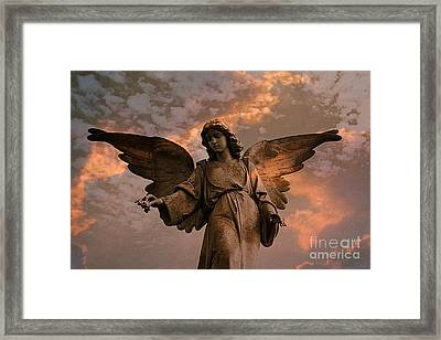 Heavenly Spiritual Angel Wings Sunset Sky  Framed Print by Kathy Fornal