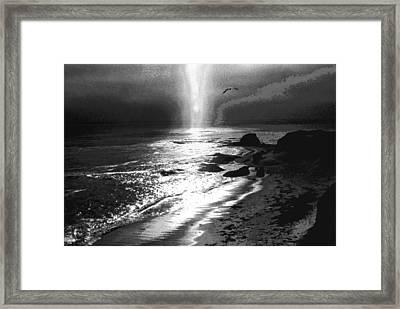 Heavens Light Black And White Framed Print