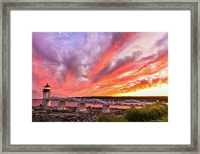 Framed Print featuring the photograph Heavens On Fire - Port Clyde by Expressive Landscapes Fine Art Photography by Thom