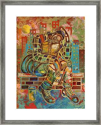 Heavy Burdens  Framed Print by Larry Poncho Brown