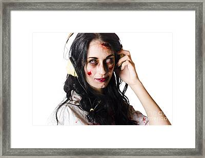 Heavy Metal Zombie Woman Wearing Headphones Framed Print by Jorgo Photography - Wall Art Gallery