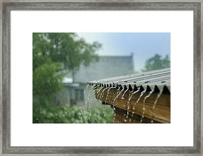 Heavy Rain Flows Down From A Roof Framed Print by Anna Nikonorova