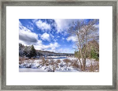 Framed Print featuring the photograph Heavy Snow At The Green Bridge by David Patterson