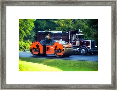 Heavy Tandem Vibration Roller Compactor At Asphalt Pavement Works For Road Repairing 1 Framed Print by Lanjee Chee