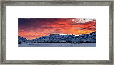 Framed Print featuring the photograph Heber Valley Panoramic Winter Sunset. by Johnny Adolphson