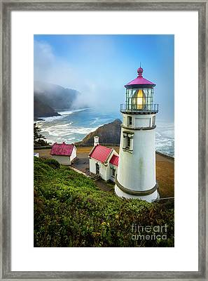 Heceta Head Fog Framed Print by Inge Johnsson
