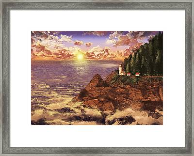 Heceta Head Light Framed Print by Bekim Art