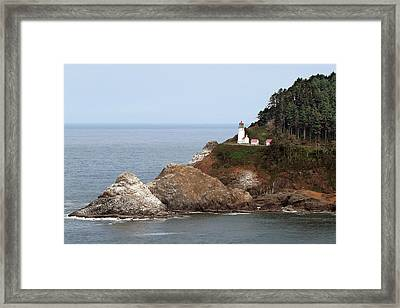 Heceta Head Lighthouse - Oregon's Scenic Pacific Coast Viewpoint Framed Print by Christine Till