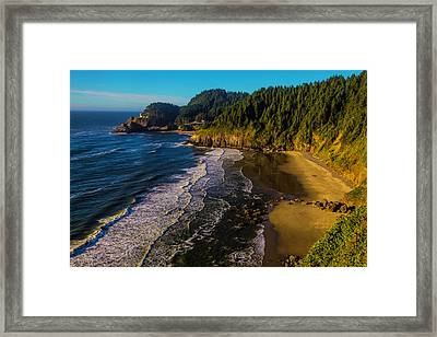 Heceta Head Lighthouse And Beaches Framed Print by Garry Gay